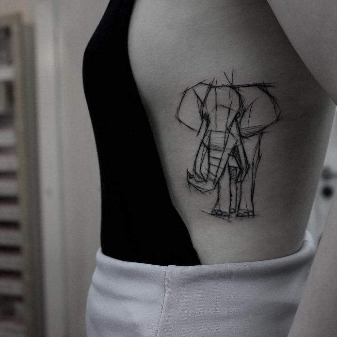тату геометрия слон, эскиз на рёбра