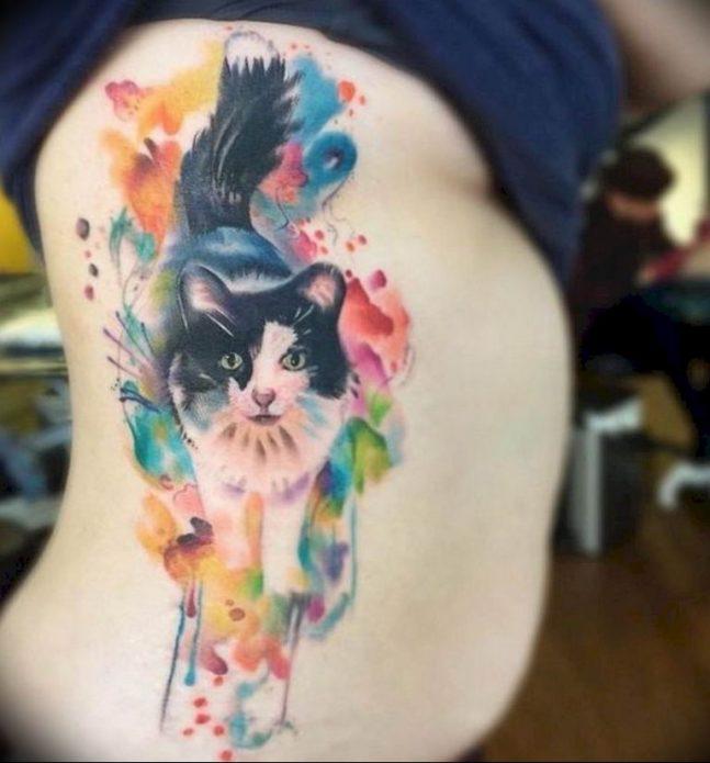 тату акварельный кот на боку, эскиз на рёбра