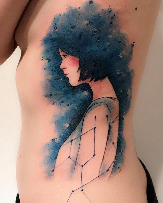 акварельный портрет, созвездие тату, красивая женская татуировка