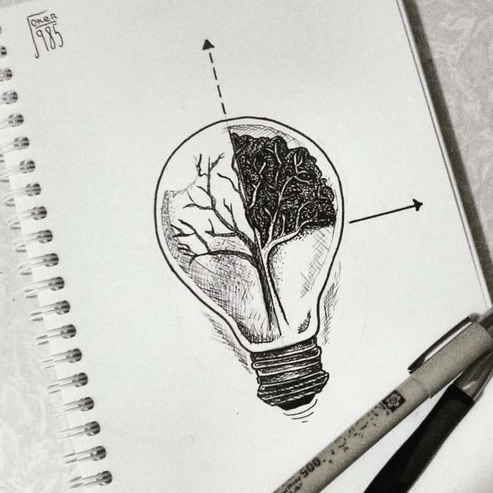 эскиз на рёбра лампочка и дерево чб