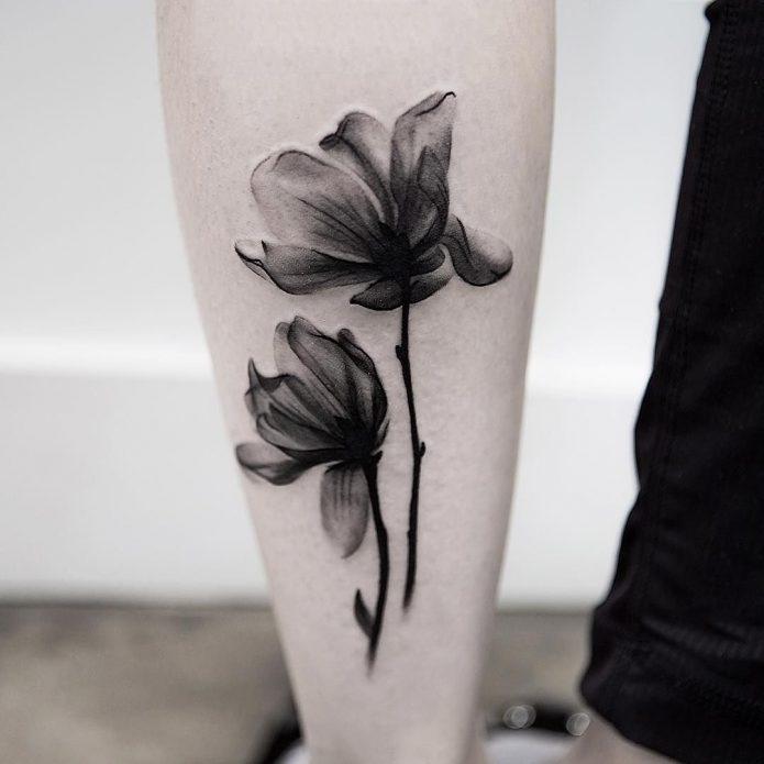 чб тату в стиле акврель цветы, женские эскизы чб