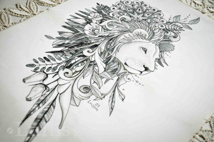 эскиз лев чб, женские эскизы лев