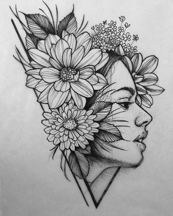 эскиз арт девушка с цветами чёрно-белый
