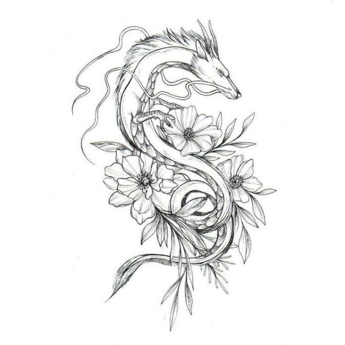 эскиз дракон с цветами чб