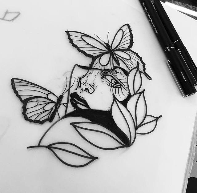девушка и бабочки крутой чёрно-белый эскиз