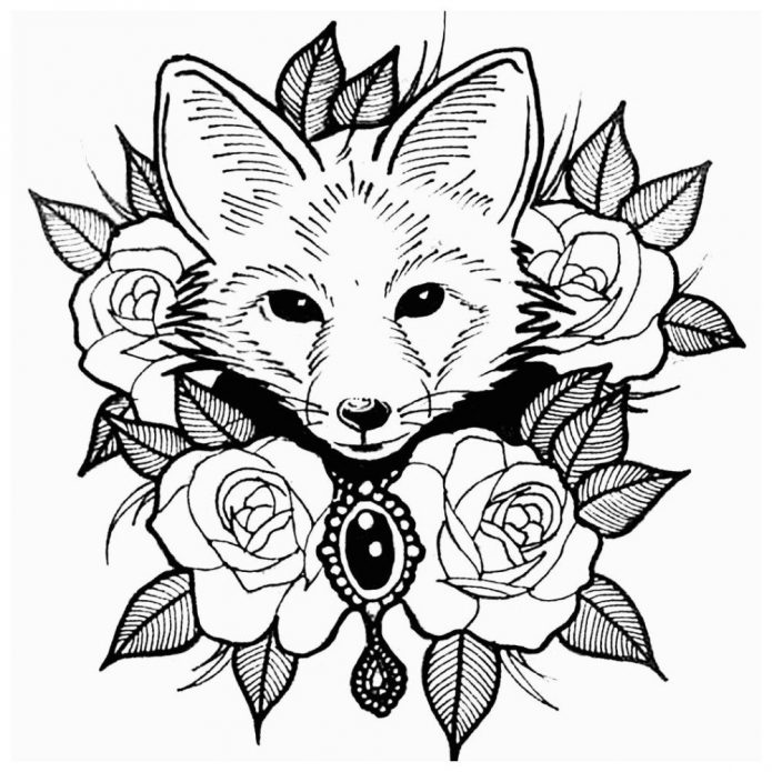 лиса в роза эскиз на бумаге