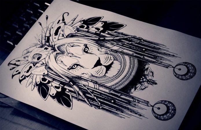 эскиз лев чёрно-белый