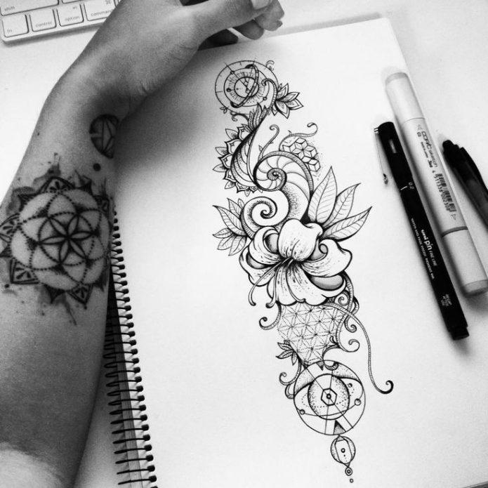 красивый женский эскиз узоры и цветы