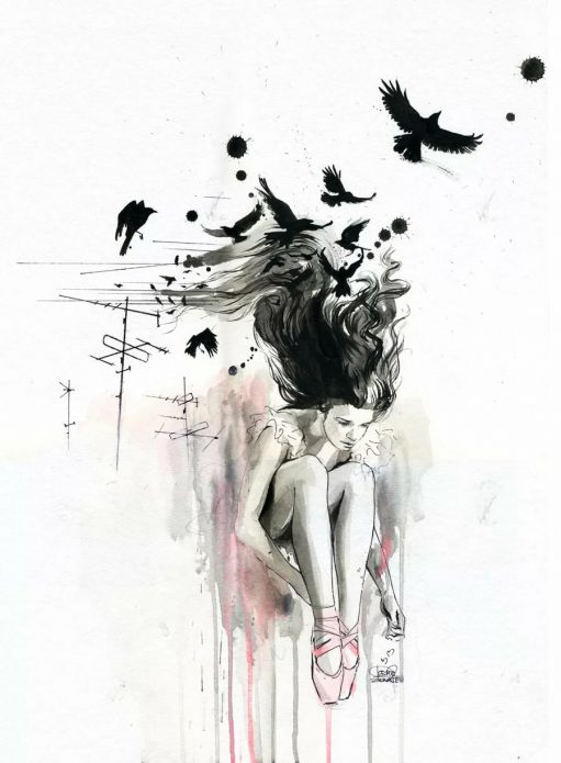 Акварельный эскиз для чёрно-белой тату, тату девушка и птицы