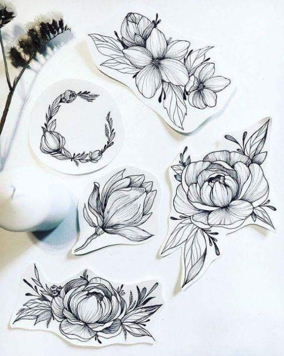 небольшие чб эскизы для девушек, тату цветы и веточки