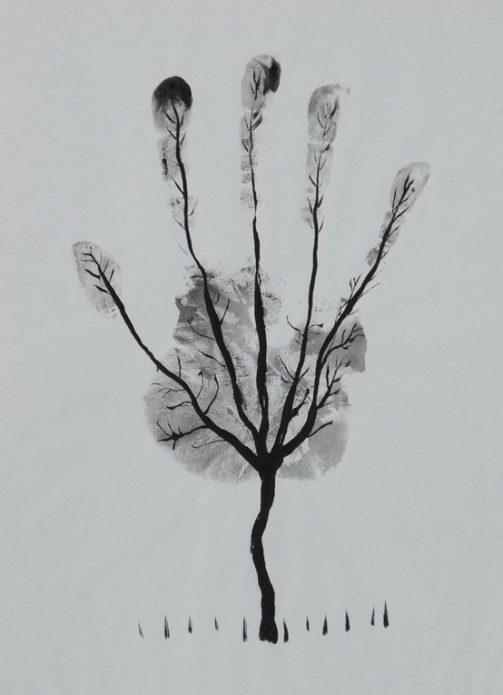 чб эскиз дерево, необычные тату