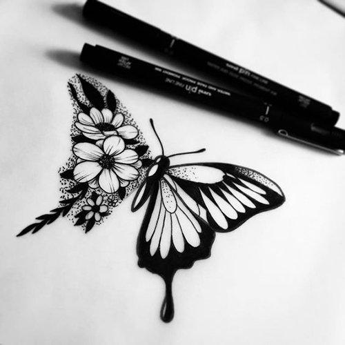 бабочка тату эскиз чёрно-белый