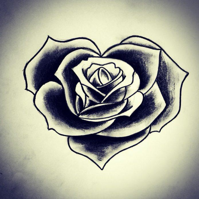 роза тату чб небольшая роза чёрный эскиз