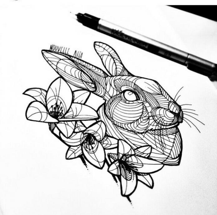 тату геометрия кролик и цветы эскиз чб
