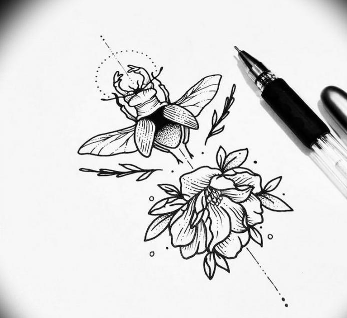 скарабей и цветы эскиз чб минимализм