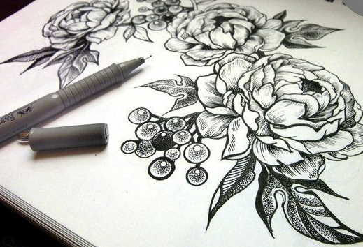 красивый эскиз пионы чб, тату цветы