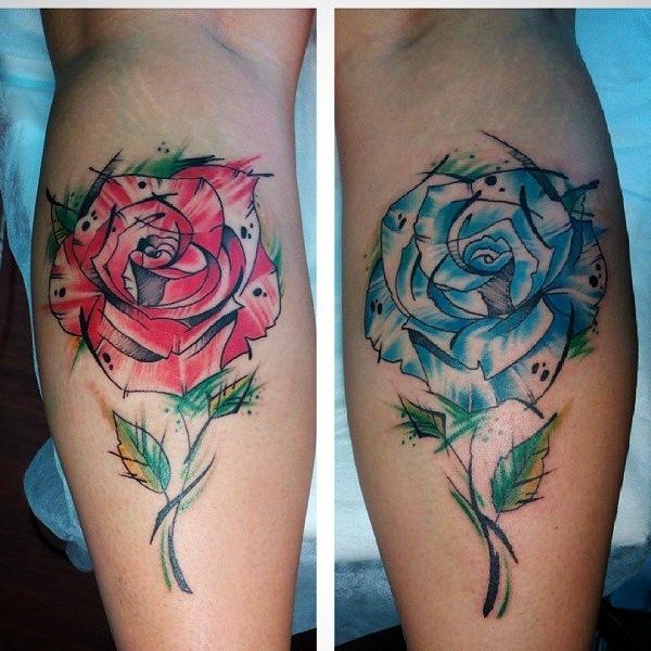 парные тату на икрах, женские эскизы на икры, тату розы