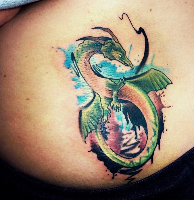 тату дракон на пояснице, небольшие тату