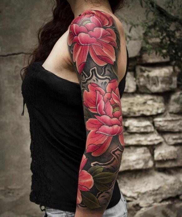 тату-рукав женский цветной, тату рукав цветы