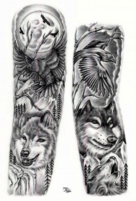 эскиз на всю руку волк, чб эскиз рукак