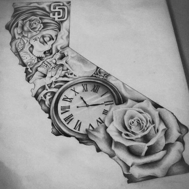 эскиз розы и часы рукав чб чикано