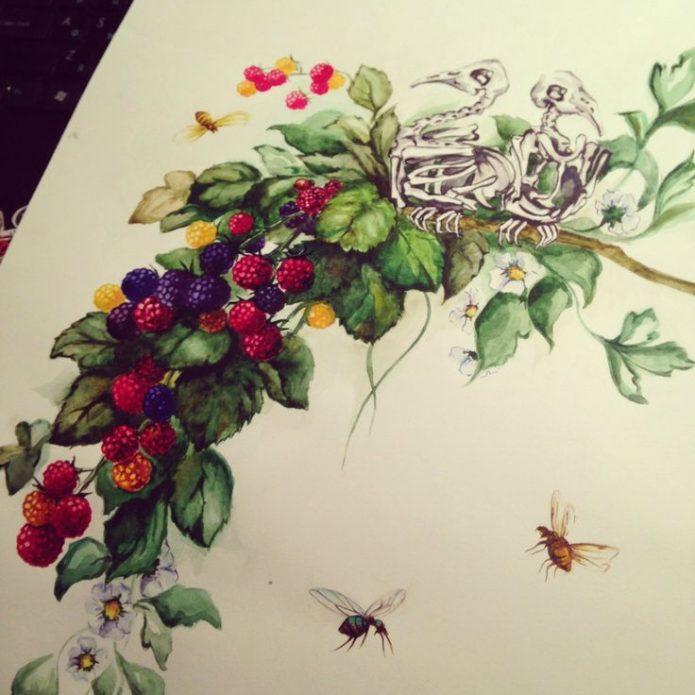 цветной эскиз ягоды на руку