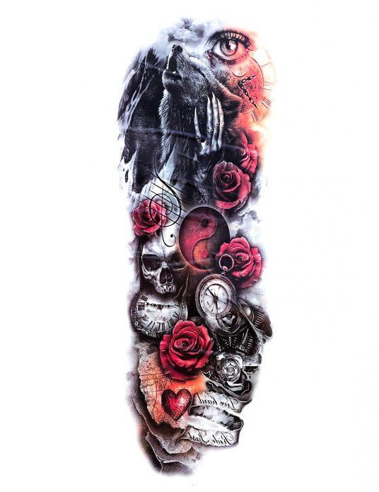 красивый эскиз с волком и черепами для тату рукав