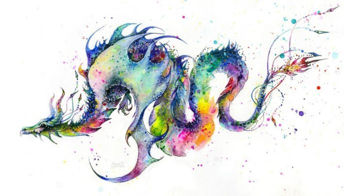 эскиз акварельный дракон для тату рукава