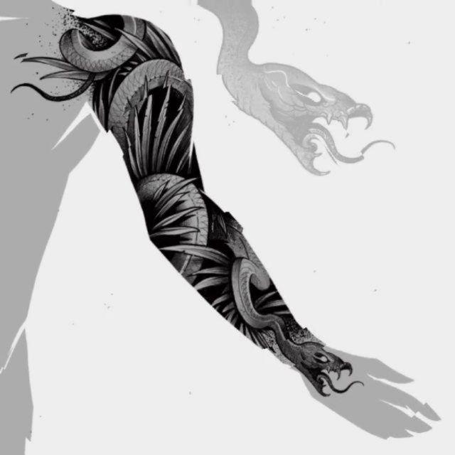 эскиз дотворк на всю руку, чб эскизы рукав дракон