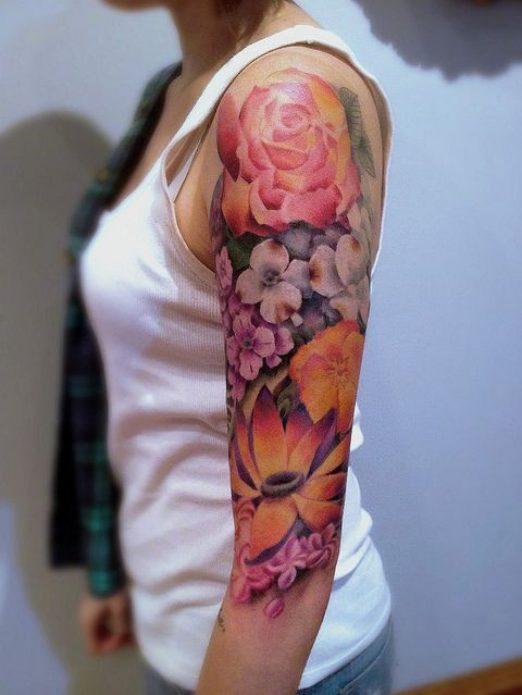 полурукав акварельный цветы тату для девушек