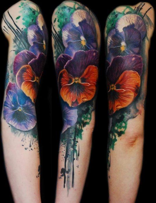 полурукав цветы тату для девушек