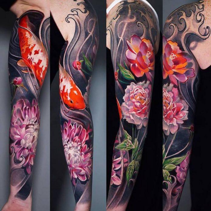 тату рукав цветы в японском стиле