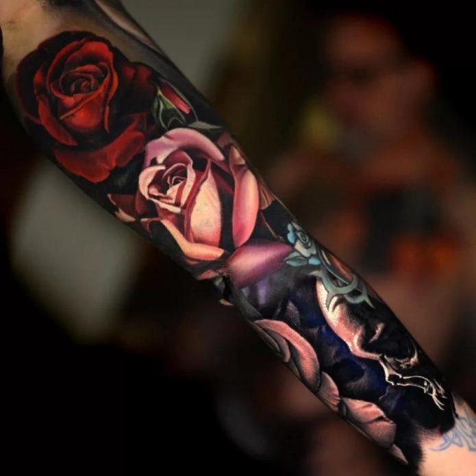 крутой тату рукав розы для женщин