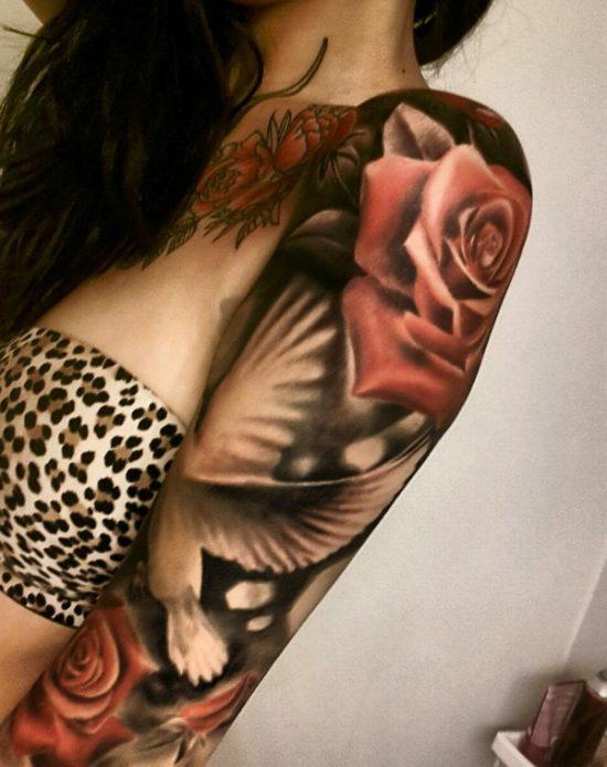 женский тату рукав с розой