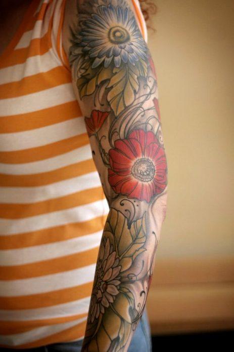 женский тату рукав с цветами