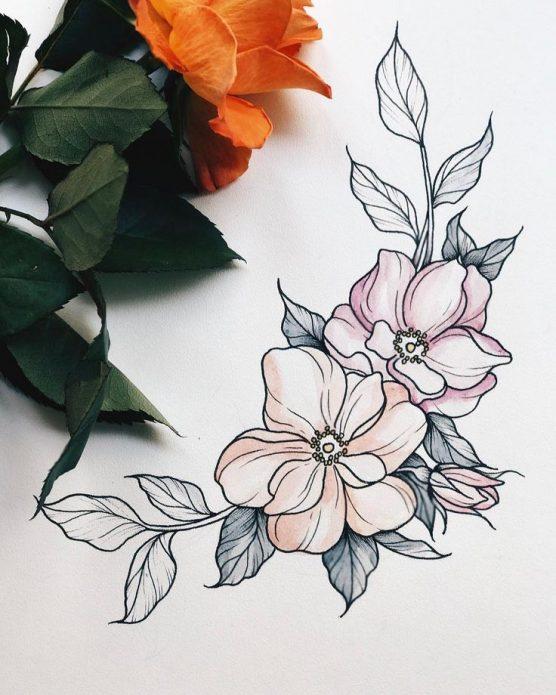 эскиз на ключицу веточка с цветами