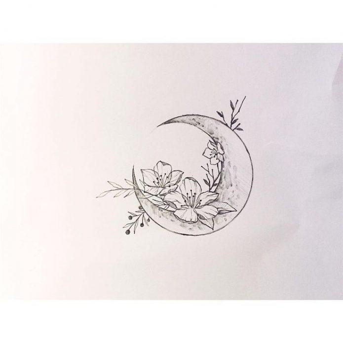 эскиз тонкий чб месяц и цветы
