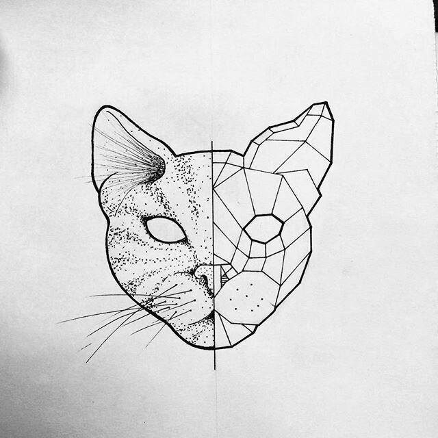 эскиз геометрия кошка