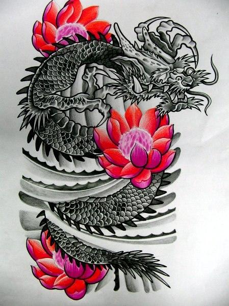 эскиз дракон и цветы для девушек