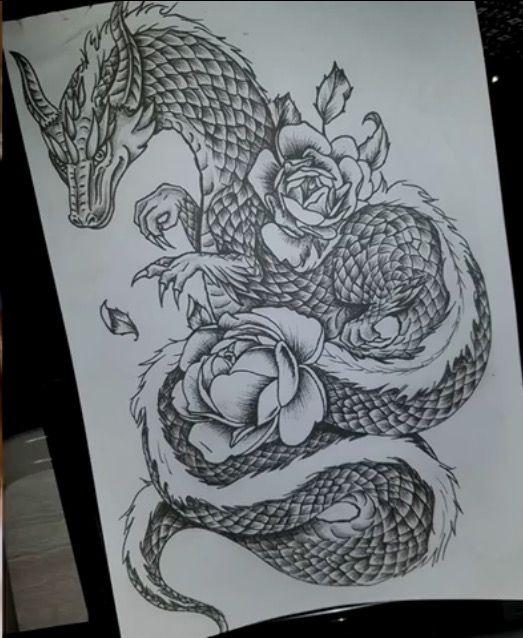 большой эскиз дракон и цветы чб