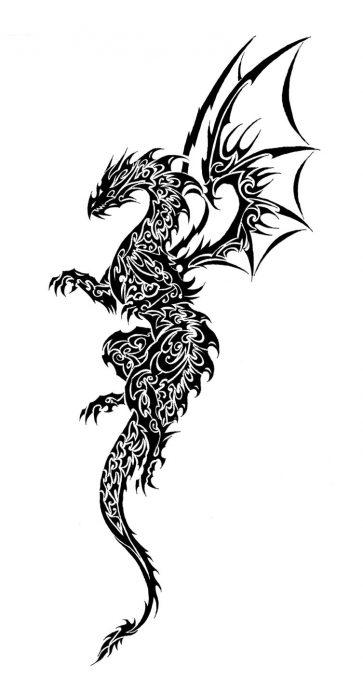 простой эскиз дракон, небольшая тату с драконом эскиз