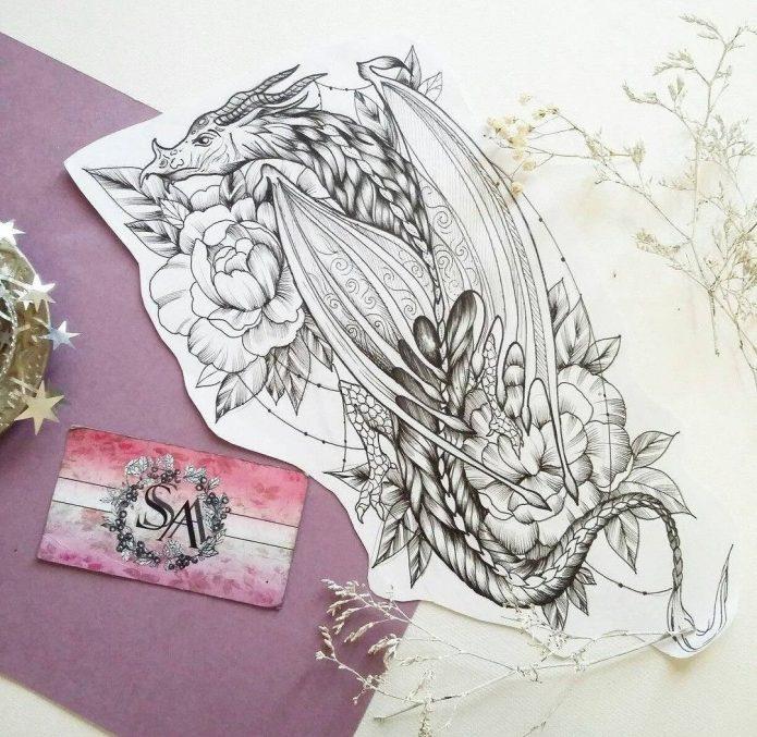 эскиз для девушек дракон с цветами