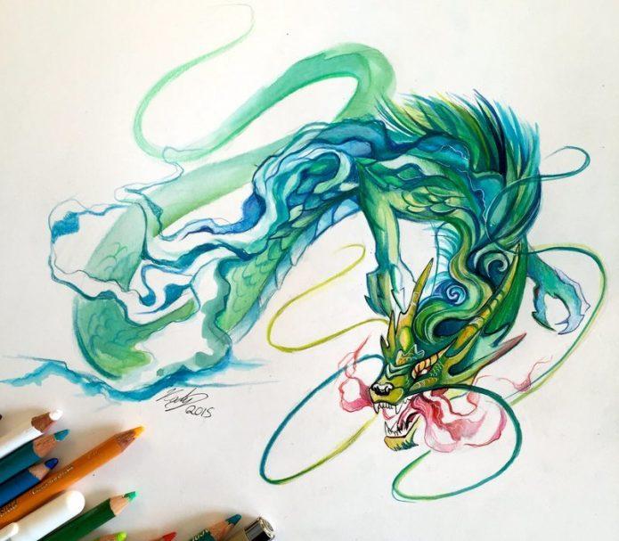 тату эскиз зелёный дракон