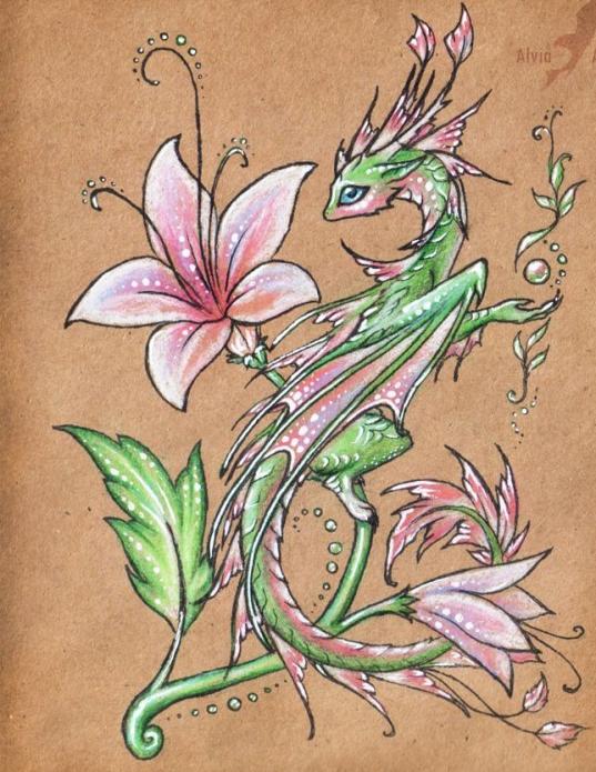 милый дракончик и лилия эскиз для девушек