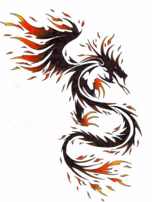 простой эскиз огненный дракон