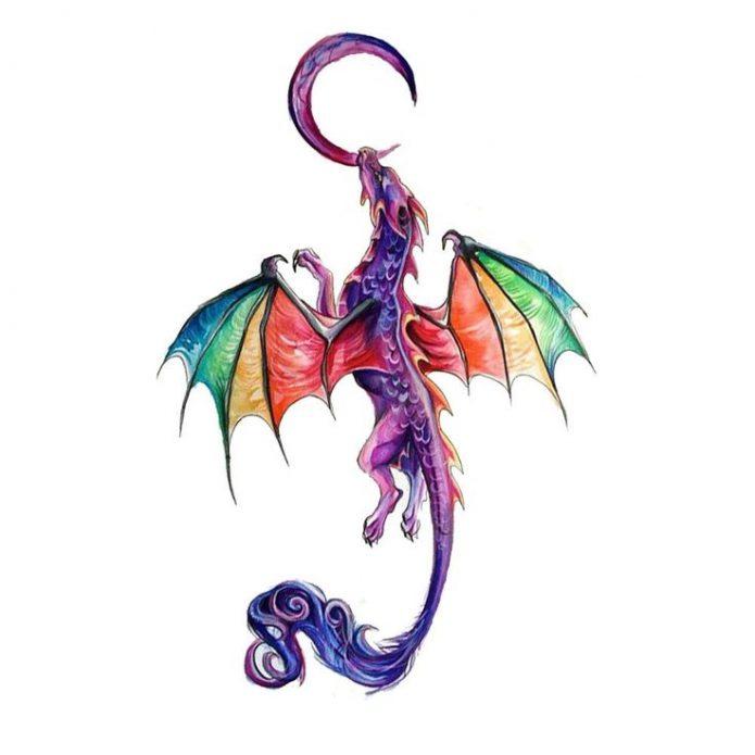 эскиз разноцветный дракон и месяц для девушек