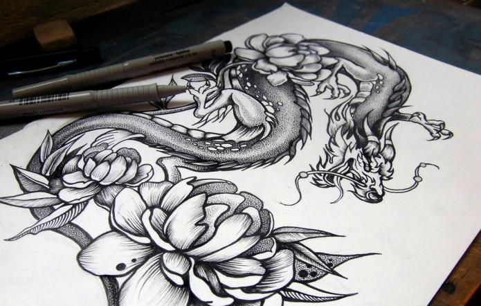 эскиз женский дракон с цветами