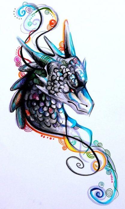 акварельный эскиз дракон для девушек