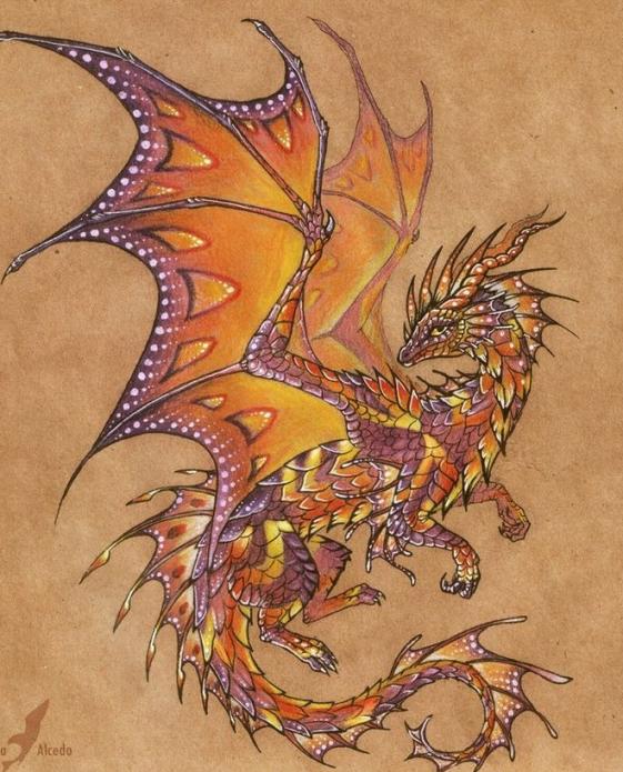 красивый дракон эскиз женский
