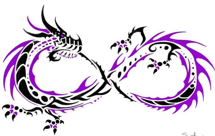 тату мини дракон и бесконечность эскиз лёгкий